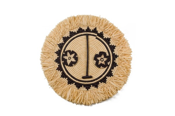 The inspiration for these raffia woven wall art pieces, are derived from woodenSunMasksmade by the Bwa people of Burkina Faso. They are worn during dances performed in agriculturalceremonies to celebrate the farming season and promote an abundant yield.  A multitudeof techniques and expert hand weavingskills are used to create these striking pieces.  57cm in diameter  All products are made by hand with love and vary slightly in color and size. Made in an ethical, fair trade environment by women in Uganda, supported by All Across Africa  CARE INSTRUCTIONS:   Woven masks and basketshave a hang loop on the back - ready to hang aswall décor Keep dyed products out of direct sunlight to avoid fading To clean,use a damp cloth. Avoid using chemicals or detergents. Do not submerge in water as the natural dyes could run. In case the wall art gets wet, pat dry and air out to avoid mould growth.