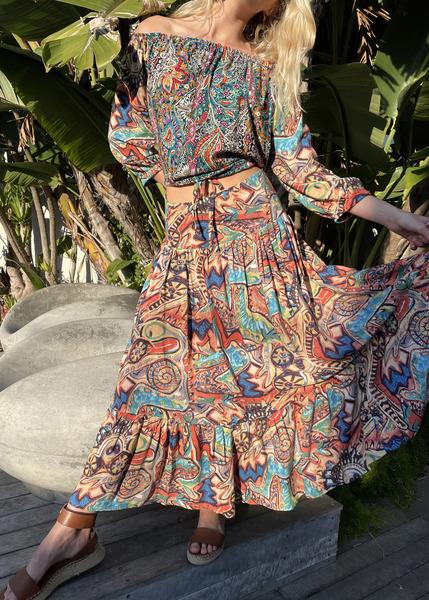 Graphic print maxi skirt