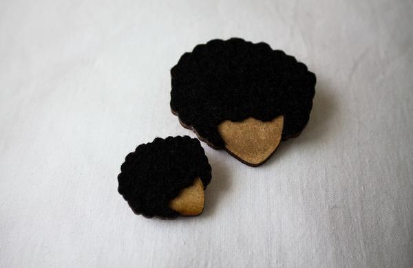 Felt & Wood Stud Earrings