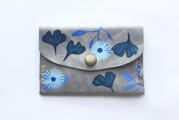 Mini purse - turquoise florals