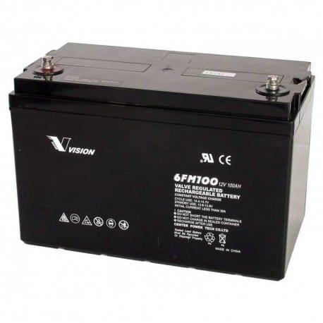 Vision 100ah 12v deep cycle agm extra heavy duty 6fm100z x battery1