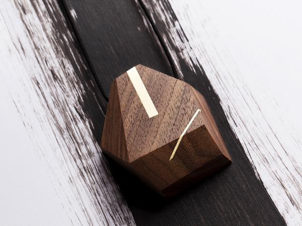 Walnut fa c et with brass inlay pendant