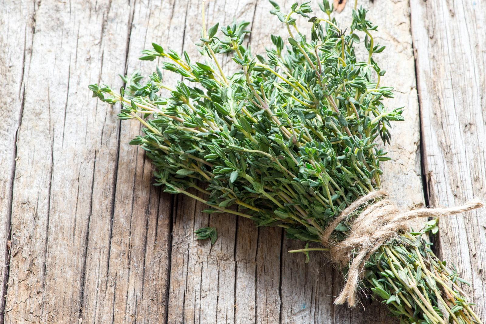 Fresh thyme herb bunch 070518