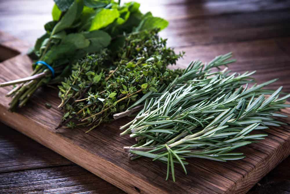 Several herbs on cutting board apr23